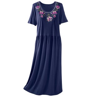 image of Fall Floral Embroidery Dress with sku:20914-PS%DKN