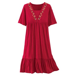 image of Pucker Knit Dress with sku:21543-L%RED