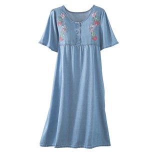 image of Butterfly Denim Dress with sku:22062-L%BLC