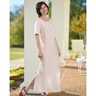 image of Directional Stripe Dress with sku:22174-L%PRR