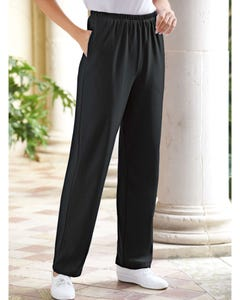 UltraSofts Elastic-Waist Interlock Pull-On Pants