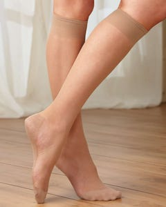 Sheer Cotton Sole Knee High 12-pk