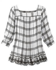Embroidered Hem Plaid Blouse