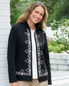 Embroidered Zip Cardigan