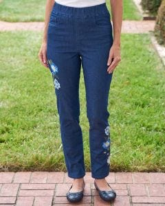 Fall Blossoms Embroidered Jeans
